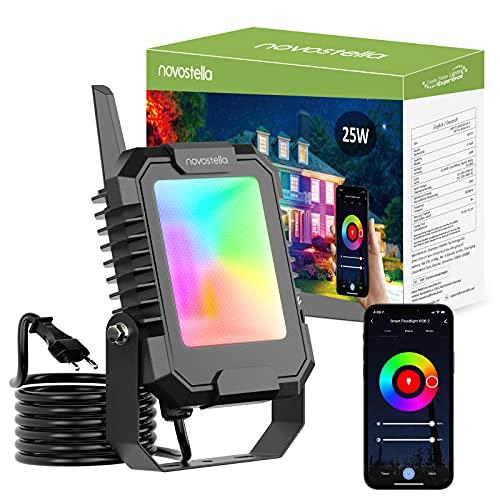 Novostella BLink Focos LED Exterior RGB 25W, Proyector LED Inteligente Control APP de Teléfono 16 Millones de Colores y 8 Modos Sincronizada con...