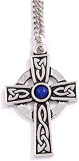 Pewter St Petroc Cross Necklet - 18 Inch Curb Chain - Lapis Lazuli