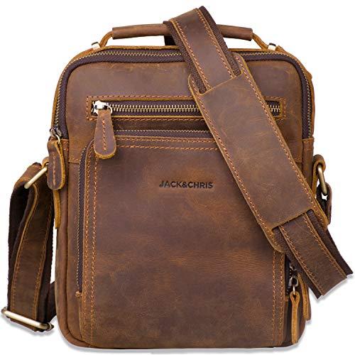 Leather Messenger Bag for Men,Jack&Chris Man Purse Crossbody Bags for Work Business (Brown), JC5207-8