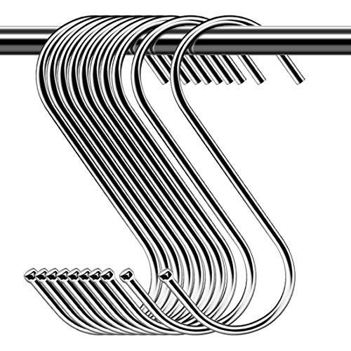 S-Haken Edelstahl,S-Haken Groß 10er Pack für Küche, Bad,Schlafzimmer und Büro 4 * 14cm Silber S Haken Edelstahl (Silber)