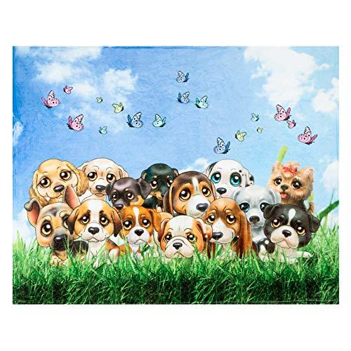 Hundewurfdecke, entzückende extra große Welpenhundedecke für Erwachsene, Kinder, Jungen, Mädchen und Hunde, Fleece-Hundedecke (50 x 60 Zoll) Warm, gemütlich