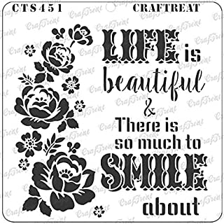 CrafTreat Stencil - Smile Now - Reusable Painting Template for Notebook, Home Decor, Crafting, DIY Albums, Scrapbook and Printing on Paper, Floor, Wall, Tile, Fabric, Wood - 6x6 Inches