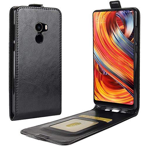 Sangrl Tasche Für Xiaomi Mi Mix 2, Hohe Qualität PU Leather Flip Hülle Soft Texture up & Down Open Tasche Ledertasche Schwarz