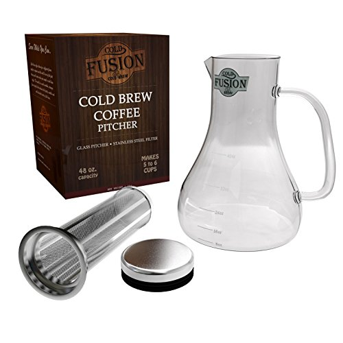 Cold Brew Coffee | water picture | Glass Carafe & Stainless Steel Filter | Concentrate Regular & Decaf Grounds | Iced Tea Maker| Great Gifts | 6 Cups With No Bitter Taste Or Acids | Great Served Hot