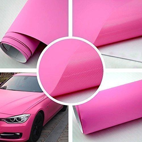 TipTopCarbon 8,55€/m² Matt Pink 152cm breit Blasenfrei Autofolie selbsklebend mit Luftkanäle 3D Flex Folie Auto