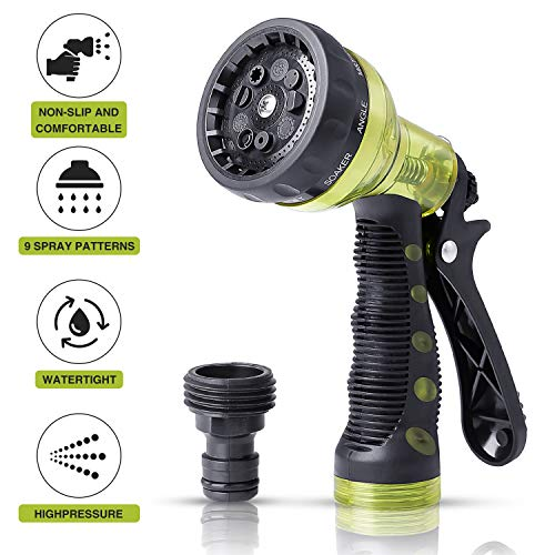 VIVIK Garden Hose Nozzle,Hose Spray Nozzle,Water Hose Nozzle with 9 Adjustable Watering Patterns,Heavy Duty Hose Nozzle for Watering Plants,Cleaning,Car Wash and Showering Pets (6.3 in)