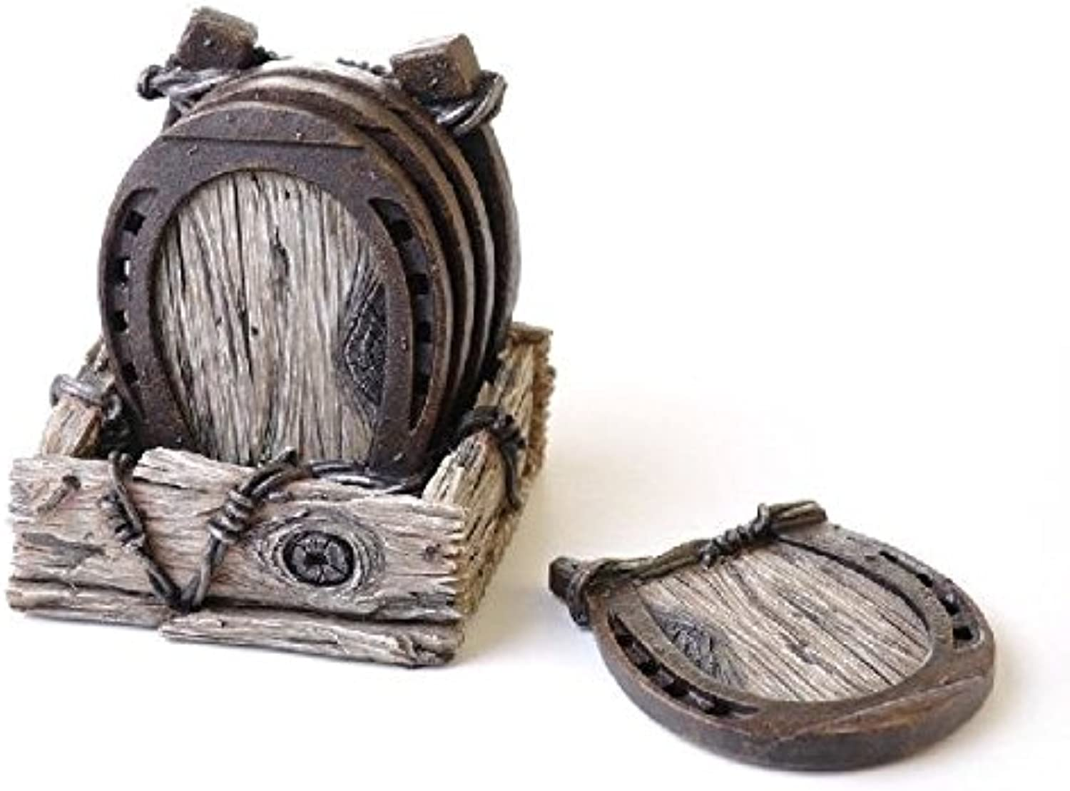 6.2 Inch Collectible Wood Look with Horseshoe Coaster Set with Holder