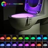 16 colores UV Sanitizer WC luz de noche, Sensor de movimiento activado LED Lamp, Divertido baño Iluminación añadir en el cuenco brillante asiento con Aromaterapia Ambientador Novedad regalos