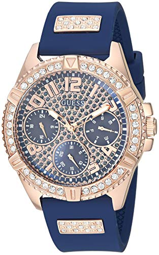 GUESS  Comfortable Rose Gold-Tone + Blue Stain Resistant Silicone Watch with Day, Date + 24 Hour Military/Int'l Time. Color: Blue (Model: U1160L3)