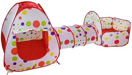 YJF-TENT Kinder-Doppelspielzelt DREI-Stück-Pop-Up-Spielzelt Crawl Tunnel Ball Pit mit Basketballkorb Indoor Outdoor Spielhaus für Jungen und mädchen