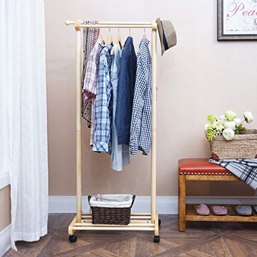 Oak Coat Rack Free Standing On Wheels, Solid Wood Rolling Clothing Stand with Double Rod and Shoe Shelf for Hall Tree Entryway Storage Origanizer, Height 65inches (Color : Nature)