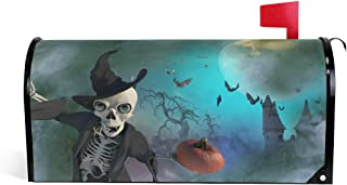 ZZKKO Magnetic Mailbox Covers Funny Halloween Skeleton Wearing a Witch Hat Letter Box Cover Colorful Painting Graden Outdoor Decorations,20.8x18 Inch Standard Size,Multicolor