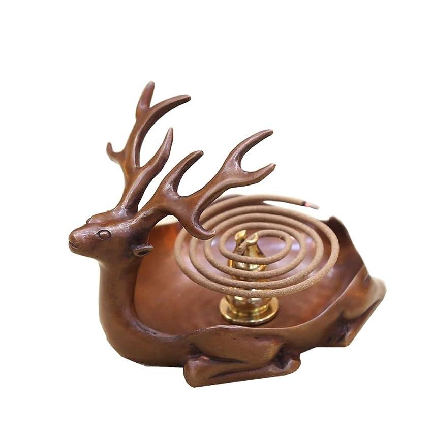 疲れた裏切り者小麦粉ホームアロマバーナー 純粋な銅アンティーク子鹿香バーナーホーム屋内香ビャクダン茶セレモニー香バーナー装飾 アロマバーナー (Color : Brown)