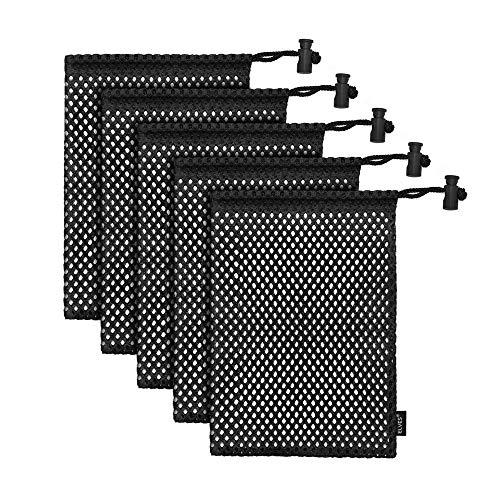 Elves - Bolsa de Malla de Nailon Resistente con Cierre de cordón Deslizante, para Pelotas de Tenis de Pelotas de Golf, Gimnasio, Ducha, Juguetes de Lavado, Buceo (5 Unidades)