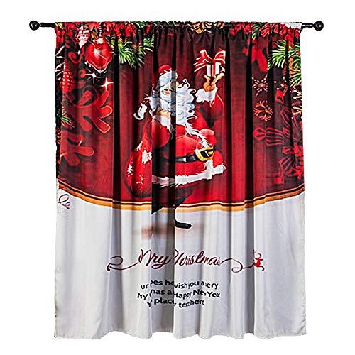 HERCHR 140 x 130 cm zasłona zaciemniająca, Wesołych Świąt zasłona okienna do kuchni łazienki zasłony (czerwona)