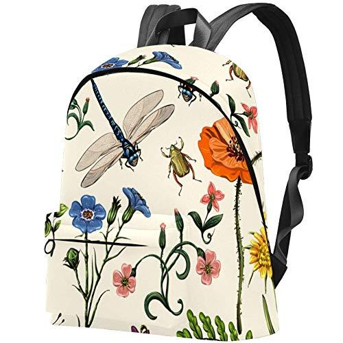 Vintage Mariposas Libélulas Escarabajos Y Plantas Flores Estilo Provenzal Bolso Adolescentes Mochila Escolar Mochilas livianas Mochila de Viaje Mochilas diarias