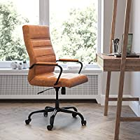 Flash Furniture Brown LeatherSoft Executive High Back Desk Chair