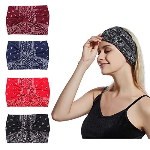 Sethexy Boho-Haarbänder, breit, 4 Stück, schwarz, geknotet, Haarbänder, modischer Druck, Bandeau, Reisen, dehnbares Baumwoll-Stirnband, Polyester, Sport-Haar-Zubehör für Mädchen