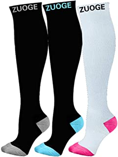 3 Pairs Compression Socks Pack - Best Medical, Nursing, Travel & Flight Socks - Running & Fitness - 15-20mmHg