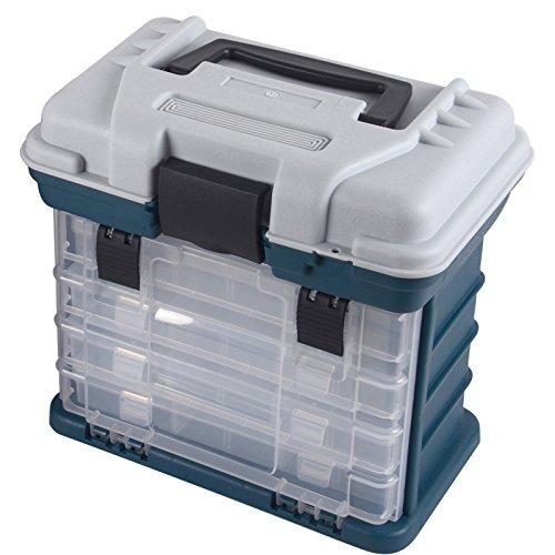 軽量 タックルボックス 4段式 フィッシングボックス ランガン ルアーケース ツールボックス 釣り具 収納BOX ハードボックス 整理 トレイ 仕切り板付属 工具 文具 ねじ 釘 分類 整理 ブラックバス アジング ロックフィッシュ ジギング エギング メ