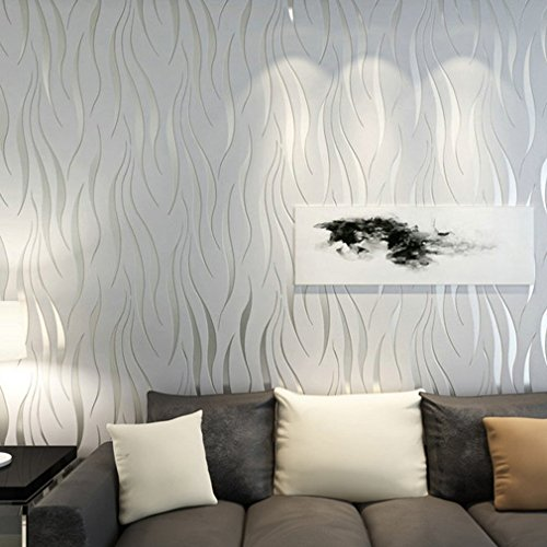 Modern Minimalist Non-Woven Water Plant Pattern 3D Flocking Embossed Wallpaper Roll Living Room Bedroom Silver Grey 10M/32.8ft (Style A-Silver)
