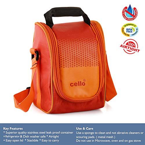 Cello Plastic Max Fresh Fresh Matiz Lunch Box (375ml, Orange) - Set of 3