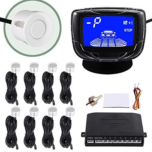 EyPiNS LCD Einparkhilfe 8 Sensoren zum Nachrüsten Parkhilfe Rückfahrwarner Universal Elektronik Detector Einparkhilfe Parking Vorne & Hinten, PDC + Akustische Warnung (Weiß)