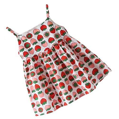 Amosfun 1Pc Meninas One Piece- Vestido De Verão Impressa Vestido Charmoso Vestido Crianças Vestido de Algodão