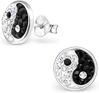 Liara Clous doreilles color/és Ying And Yang pour enfants en argent sterling 925./ Poli et sans nickel