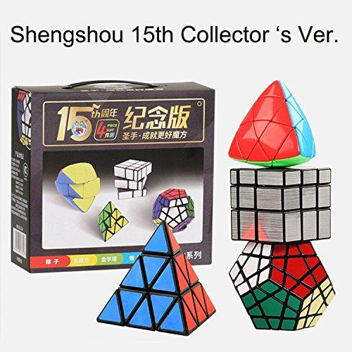 EasyGame - Shengshou Magic Cube 15ª colección de coleccionista. 4-Packed Silver 3X3 Mirror Cube Pyraminx Cube Megaminx Cube Mastermorphix Cube Giftbox Toys. (4-Packed)