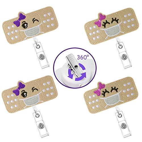 4 Pieces Nurse Badge Holder, Felt Badge Reel with Alligator Clip, Cute Badge Reel Holder Retractable Name Tag Badge Reel Clip for Nurses Students Doctors (Smiley and Wink)