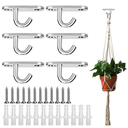 AFASOES 6 Stück Deckenhaken Edelstahl Augplatten M5 mit 12 Schrauben Decksplatte metall Mastplatte schwerlast Ösenplatte für deckenmontage Haltbare zum Aufhängen haken für decke Pflanzenkorb Boot