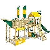 WICKEY Spielturm Smart Wing Kletterturm Spielplatz Luftschiff mit Segeln und Propeller Kletternetz...