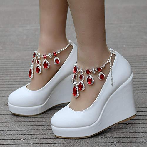 N / A Zapatos de boda con cadena de diamantes de imitación, zapatos de cuña con plataforma de punta redonda, rojo _42