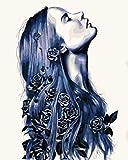 YUHHGFK Pintar por Numeros Chica Rosa Azul Pintura al óleo de Bricolaje con Pinceles y Pinturas - para Adultos, niños y Principiantes Decoración del hogar - 40 X 50 cm (Sin Marco)