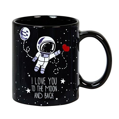 Tazza da colazione 32 cl. in ceramica nera con messaggio in lingua inglese design To the Moon and Back