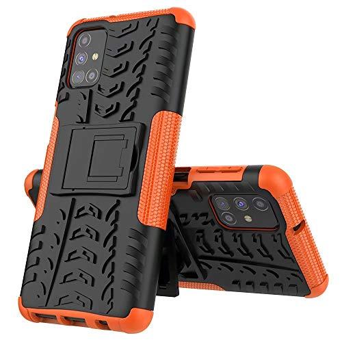 xinyunew Handyhülle LG K52/Q52/K62 Hülle,Hülle 360 Grad Ganzkörper Schutzhülle+Panzerglas Schutzfolie Schützend Handys Schut zhülle Tasche Cover Skin mit Ständer Orange
