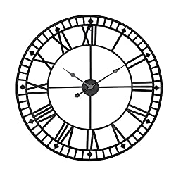 24 inch Modern Wall Clock Silent Non-Ticking Metal Roman Numerals Antique Vintage Round Battery Powered Wall Clocks for Living Room School Office Bars 60cm