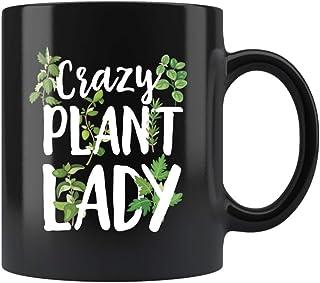 953f7772a08 Freshoutlook Crazy Plant Lady Funny Gardening Mug 11 oz Black Plant Mom  Gifts