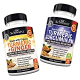 Organic Turmeric & Ginger Capsules + Turmeric Curcumin Sleep Aid with Melatonin - with BioPerine Black Pepper for Increased Absorption & Joint Relief - for Immune Support & Muscle Health