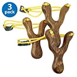 Adventure Awaits! - 3 Pack - Hand-Carved Wooden Slingshots with Great Handle Holds - Handmade, Beautiful Smooth Finish! Each Slingshot (x3) is Together in one Package. Free 50-pk Ammo...Limited time!