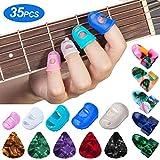 Guitar Fingertip Protector - 35Pcs Premium Silicone Finger Protectors in 5 Sizes, Guitar Finger Guards Fingertip Protection Covers Caps for Beginner to Playing Ukulele Electric Guitar