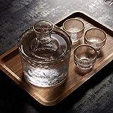 Set de 6 vasos japoneses de vasos de sake, set de regalo tradicional para servir vino de licor de Phnom Penh que incluye 4 copas de vino, 1 frasco de cadera, 1 tazón de olla caliente y caja de regalo