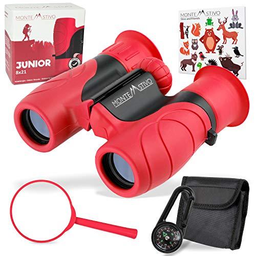 Monte Stivo® Junior | Vergleichssieger Fernglas für Kinder 8x21 mit Lupe & Kompass | Geschenk-Set Spielzeug für Junge Mädchen ab 4 Jahre