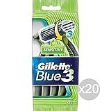 Set de 20 GILLETTE Blue 3 x 4 Sensible Radi Tija Afeitadora de vello facial y cuerpo