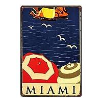 マイアミ メタルポスター壁画ショップ看板ショップ看板表示板金属板ブリキ看板情報防水装飾レストラン日本食料品店カフェ旅行用品誕生日新年クリスマスパーティーギフト