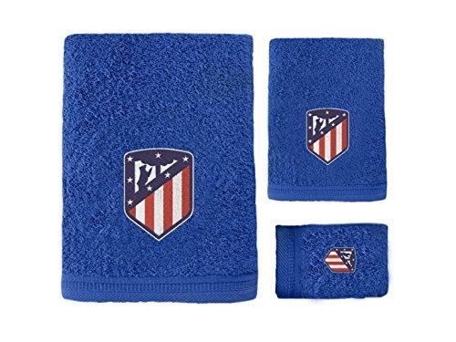 Atlético de Madrid. Juego de 3 Toallas de Baño y Ducha con Licencia Oficial del Club. (Azúl)