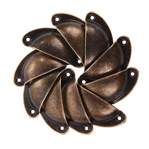 10 unids / set perillas de gabinete vintage tiradores de puerta de armario cajón de armario herrajes para muebles tiradores de concha de latón antiguo-Australia, D