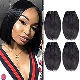 Liang Dian 8A Brazilian Straight Hair 4 Bundles (8' 8' 8' 8') Brazilian Virgin Straight Human Hair 50g/Bundle Short Hair Extensions Natural Black