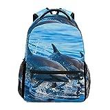 Dolphin Jumping Schulrucksack, großes Fassungsvermögen, Canvas-Rucksack, lässig, Reisen, Tagesrucksack für Erwachsene, Teenager, Damen, Herren, Kinder